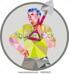 Low polygon style illustration of male gardener landscaper horticulturist holding shovel spade on shoulder hand on hips facing front done set inside circle.  - stock vector #gardener #lowpolygon #illustration