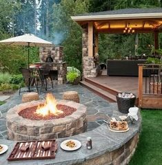Outdoor Kitchen Ideas - An exterior cooking area will make your residence the life of the party. Utilize our style suggestions to help create the ideal area for your exterior kitchen area appliances. Backyard Kitchen, Fire Pit Backyard, Outdoor Kitchen Design, Outdoor Kitchens, Fire Pit Gazebo, Camping Kitchen, Outdoor Cooking, Backyard Patio Designs, Pergola Patio