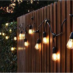 Fence Lighting, Backyard Lighting, Outdoor Lighting, Lighting Design, Outside Lighting Ideas, Edison Lighting, Event Lighting, Landscape Lighting, Backyard String Lights