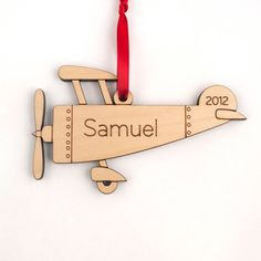 Wood Airplane Ornament