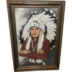Vintage Hand Colored Frasher Photo Print of Native American Indian Chief in…
