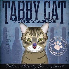 Oeuvre graphique Tabby Cat Wine Company sur toile originale 10 x 10 cm par fowler stephen