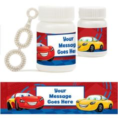 Cars Personalized Bubbles (18 Pack)