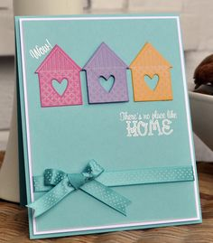 Inky Fingers: new home card Welcome Home Cards, New Home Cards, House Of Cards, Housewarming Card, Beautiful Handmade Cards, Congratulations Card, Get Well Cards, Card Making Inspiration, Greeting Cards Handmade