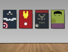 Avengers Inspired Poster Print - Captain America, Iron Man, Thor, Hulk | A2 Size | 4 Set Digital Download | Printable | Minimalist