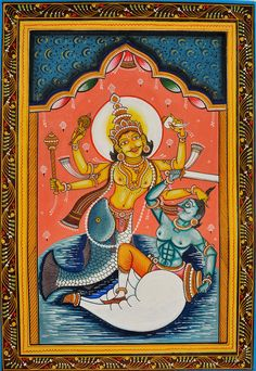 Matsya (Fish) Incarnation of Lord Vishnu, Folk Art Paata Painting on PattiFolk Art from the Temple Town of Puri (Orissa)Artist: Rabi Behera Selling Paintings, Tanjore Painting, Art Prints Online, Lord Vishnu, Art N Craft, Mural Art, Ancient Art, Find Art, Folk