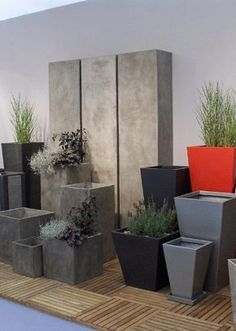 Modern Planters, Outdoor Planters, Outdoor Gardens, Eco Garden, Indoor Garden, Indoor Plants, Concrete Crafts, Concrete Planters, Zen