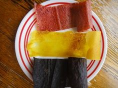 Homemade fruit roll-ups: Puree fruit in blender, spread 1 1/2 cups puree on baking sheet and leave in 140 degree oven with door cracked for 5-8 hours. Roll up while still warm. Try banana strawberry or blueberry banana.