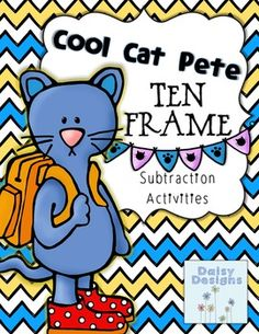 """This ten-frame can be used in multiple ways to review subtraction. When partnered with the book, """"Pete the Cat and His Four Groovy Buttons"""" by Eric Litwin, students can use buttons or other manipulatives to represent Pete's buttons on their ten-frame and work on their subtracting skills with this lovable character!"""