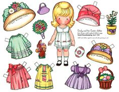 Free Paper Dolls to Print | adorable Joan Walsh Anglund paper doll with an Easter hat, basket and ...