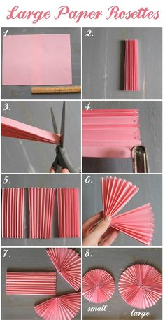 How to DIY Easy Beautiful Paper Rosettes – DIY Tutorials DIY Party decor Related DIY Basteln zum Valentinstag für Kinder - Lolly Brilliant Crafts To Make And Sell For Extra Cash. Diy Party Decorations, Paper Decorations, Birthday Decorations, Diy Party Fans, Diy Simple, Easy Diy, Diy Paper, Paper Crafting, Diys With Paper