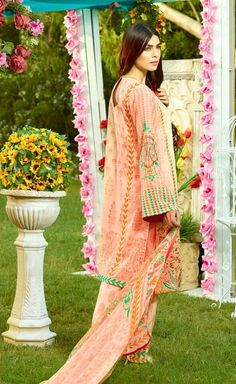 Shirt: Fabric: Embroidered Front with Sleeves, Printed Back Shalwar/Trousers: Fabric: Printed Trouser. Dupatta: Fabric: Printed Chiffon Dupatta.