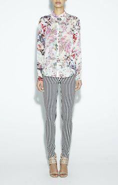 Nicole Miller  Boyfriend Faint Floral , Striped black and white pants