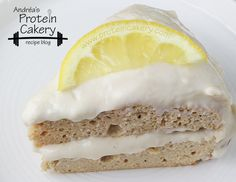 Lemon Protein Cake with Vanilla Yogurt Protein Frosting (150 calories and 26 grams of protein per slice!) | proteincakery.com