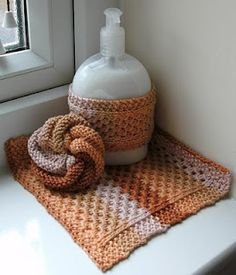 Knitted Liquid Soap and Wash Cloth/Dish Cloth Set - free #pattern #knit There is also a link to a free pattern for the tawashi (scrubbie)