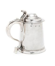 A late century Provincial silver tankard stamped thrice with maker's mark only HE beneath a crown, last quarter of century Silver Spoons, 17th Century, Makers Mark, Two By Two, Auction, English, Stamp, Crown, Corona