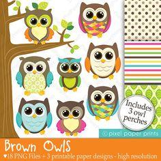 Brown Owls - Clip art and Digital paper set