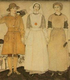 I like how this painting by Edmund Dulac illustrates the importance of uniformity within fashion during the early 20th century (1917). On the painting you will find a member of the Land Army, a nurse and a munitions worker.