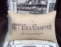Ready to ship ~ no waiting :)  Add this lovely burlap vintage typography pillow to your French country or shabby chic home décor for an extra