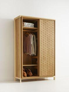 Asanoha Kleiderschrank 2-türig, Eiche, Türen mit Holzfüllung, B 133 x T 64 x H 210 cm | Grüne Erde