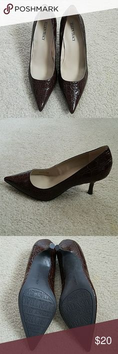 NWOT - AWESOME BROWN LEATHER CLOSE TOED HEELS Great for the office.  Brand new never worn. Ellen Tracy Shoes Heels