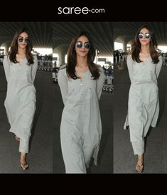 Vaani Kapoor in a palazzo kurta at the airport blouse designs Simple Kurti Designs, Kurta Designs Women, Blouse Designs, Casual Indian Fashion, India Fashion, Fashion 2020, Ethnic Outfits, Indian Outfits, Fashion Outfits