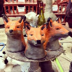 """#Painting a skulk of #clay #foxes ""  #sandradieckmann"