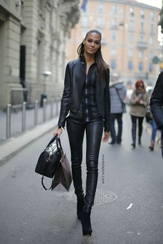 all black. leather trousers. Joan Smalls=Perfection!
