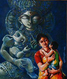 Exhibition of paintings at Galerie La Mere by various artists. Cute Paintings, Indian Art Paintings, Realistic Paintings, Ganesha Art, Krishna Art, Shri Ganesh, Durga Puja, Krishna Images, Lord Ganesha