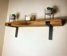 Oak Shelf with Iron Industrial Scafolding Brackets shelf) / style down / floating shelf with bra Shelf Styling, Dining Room Shelves, Bed Shelves, Oak Fireplace, Floating Shelves, Traditional Dining Rooms, Shelf Design, Shelf Over Bed, Oak Shelves