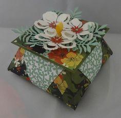 Boite origami Stampin'Up - Design Jardin botanique, Poinçons Framelits Paysagiste