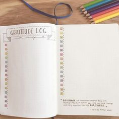 minimalist bullet journals spread | gratitude log in vertical format | color pencil
