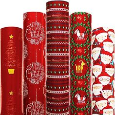 Amazon.com: Christmas Wrapping Paper 5 Roll 30 Inch X 10 Feet Per Roll Design for Xmas Holiday Hanukkah Red Blue Green White Deer Santa Snowmen Snowflakes Snow Tree Merry: Everything Else Diy Christmas Wrapping Paper, Gift Wrapping Paper, Hallmark Christmas, Christmas Diy, Snowflake Images, Creative Gift Wrapping, Red Blue Green, Xmas Holidays, Snowmen