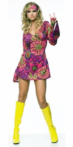 Adult size womens cute sexy or flower power style bright pink Hippie Girl fancy dress costume, includes a hot pink and purple patterned long sleeved dress and matching headband. 70s Costume, Flapper Costume, Hippie Costume, Costume Dress, Girl Costumes, Costumes For Women, Costume Halloween, Adult Costumes, Female Costumes
