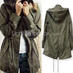 [USD $ 31.49] Casual Militar del Ejército de lazo verde con capucha capa de foso de la chaqueta de las mujeres