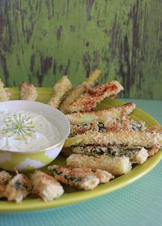 Spicy Baked Zucchini Fries with Greek Yogurt Dill Dip | Kitchen Treaty - would have to find a different coating for the zucchini fries bit the dill dip recipe sounds good!