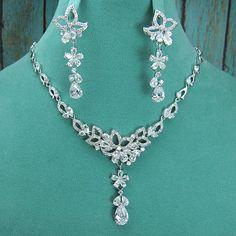 CZ Jewelry Set CZ Pave Wedding Necklace by AllureWeddingJewelry