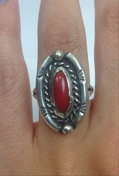 Hey, I found this really awesome Etsy listing at https://www.etsy.com/listing/238368863/navajo-coral-ring-vintage-native