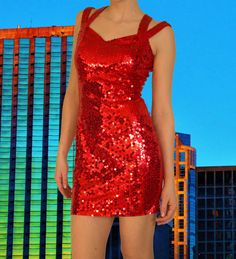 Womens Vintage 80's NITELINE by DELLA ROUFOGALI Sequined Party Dress