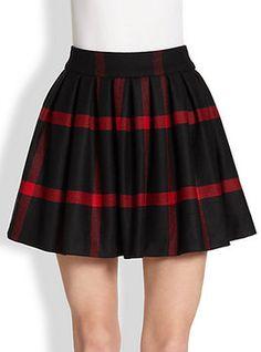 Alice + Olivia Box-Pleated Wool Skirt on shopstyle.com