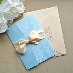 Powder Blue And Blush Lace Wedding Invitation By Paperlaceboutique