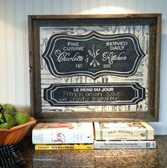 Custom Personalized Parisian Kitchen Menu Chalkboard Art. $165.00, via Etsy.