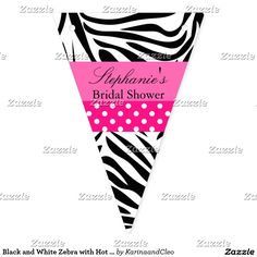 Black and White Zebra with Hot Pink Bridal Shower Bunting Flags