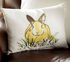 Honey Bunny Embroidered Pillow