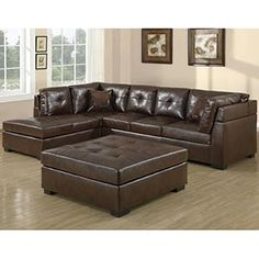 Monarch Specialties Sectional in Dark Brown - traditional - Sectional Sofas - Beyond Stores Ottoman, Furniture, Sofa Layout, Leather Sectional, Living Room Furniture, Sofa, Chaise Lounge Chair, Finding A House, Sectional