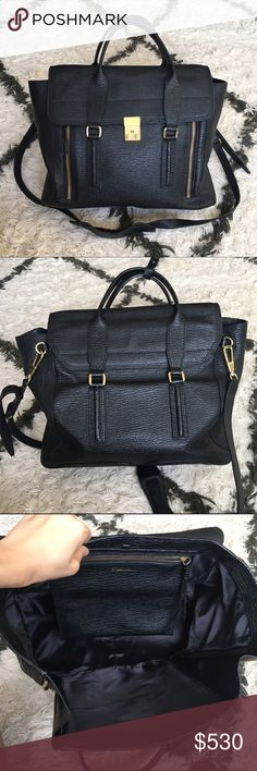 💯3.1 Phillip Lim Large Black Pashli Satchel Authentic. I just bought the same one in slightly newer condition, so selling this one. Only signs of wear are really on the metal closure as shown. Large size- please check google for size reference. Very pretty bag! Interior is clean. Retails $975+ tax ($1075) 3.1 Phillip Lim Bags Satchels
