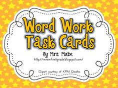 Wow...this is a GREAT freebie.  Set of task cards for word work in your classroom.  Set includes 44 word work activities, along with 4 blank task cards for programming.  ...