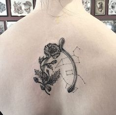Constellation wishbone tattoo on back by Annita Maslov