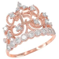 Great The perfect Rose Gold CZ-Studded Crown Sweet 15 Anos Quinceanera Ring Jewelr. - Women's Jewelry and Accessories-Women Fashion Rose Gold Jewelry, Jewelry Rings, Fine Jewelry, Gold Jewellery, Jewelry Ideas, Cute Rings, Unique Rings, Unique Art, Gold Diamond Wedding Band