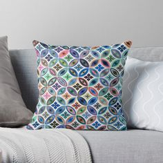 """Colorful Mosaic Tiles"" Throw Pillow by MYSTIQU3 